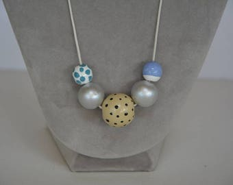 Painted wood beads necklace