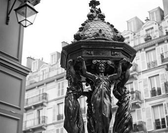 Paris photography, Paris fountain, Wallace fountain, black and white photography, French wall art, Paris decor, home decor, fine art print