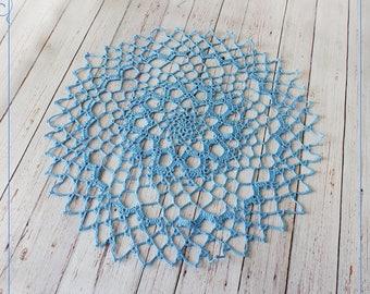 Crochet cyan doily, cyan lacy doily size 15,7 '', cotton crochet doily