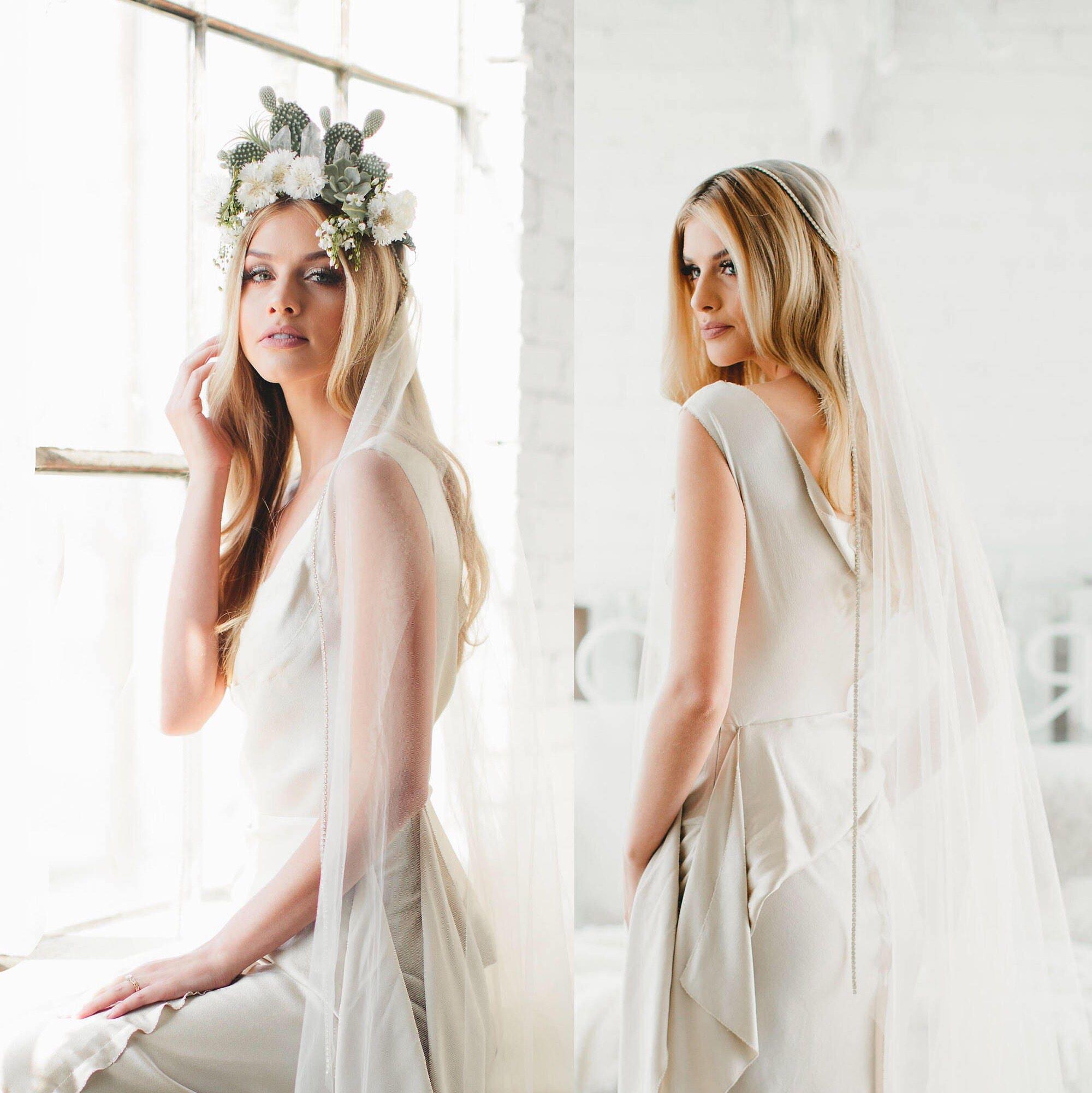 GOLD Crystal Juliet Cap Veil Wedding Veil Vintage Veil Gold