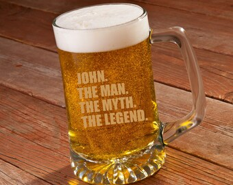 The Man. The Myth. The Legend. 25 oz. Sports Mug - Personalized Beer Mug - Gifts for Him - Husband Gifts - Groomsmen Gifts - GC1531