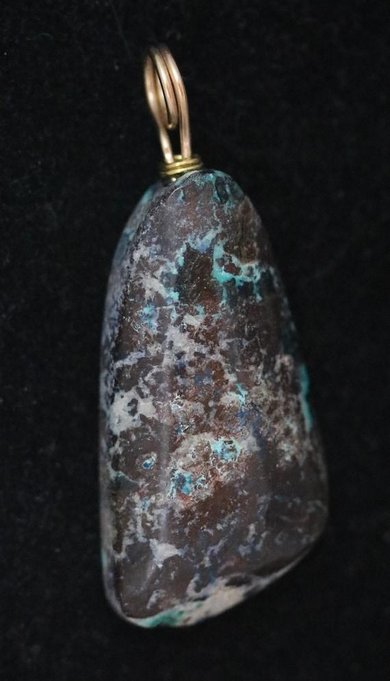 Shattuckite pendant, brown dark blue aqua white, gold twirl bail 92ct