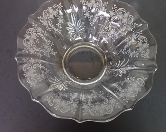 "Fostoria MEADOW ROSE Large Flared BOWL - Elegant Glass - 11 1/2"" diameter"