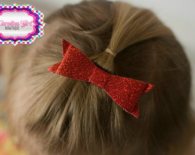 "Red Glitter Felt Tuxedo Bow  ~ 3"" Hairbow ~ Small Hair Bow ~ Girls Barrette ~ Toddler Bow ~ Baby Hair Bow ~ Hair Clip ~ Girls Hair Bow"