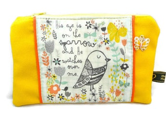 Flat pouch, yellow suede with a bird and Butterfly / colorful contrast