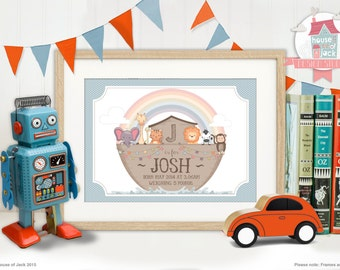 Personalised Art Print - Noah's Ark- New Baby / Birth Announcement / Keepsake / Childs Bedroom