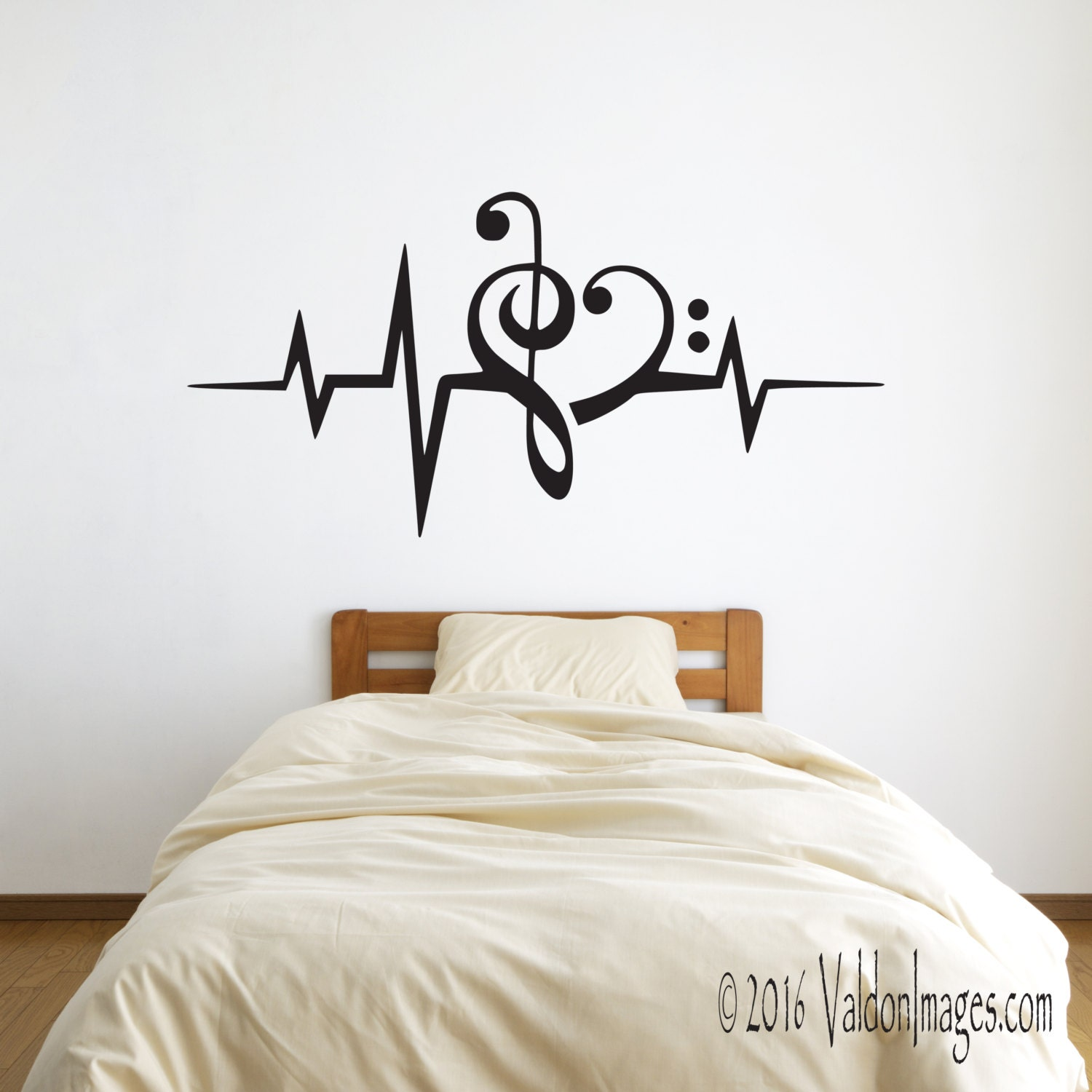 Heartbeat Music Lover Wall Decal Heart Decal Music Decal