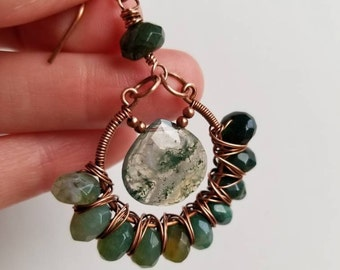 Moss Agate Earrings, Moss Agate Jewelry, Green Agate Earrings, Moss Agate Dangles, Ombre Earrings, Copper and Agate, Moss Agate Drop Earring