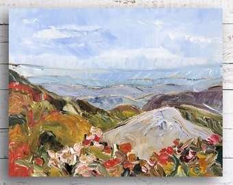 Blue Ridge Parkway, Mountains, National Park, Kristin Gibson, landscape, outdoors, wall art, contemporary art, artist, paint, small painting