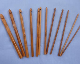 Bamboo hooks, set of 12, from 3 mm until 10 mm and 15 cm long