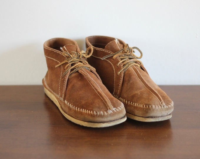 Suede Moccasin Chukka Boots Hippie Desert Shoes Men's Size 9 Women's Size 10.5 Leather Ankle Boots