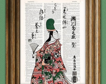 Kabuki Dancer Japanese theater beautifully upcycled vintage dictionary page book art print 8.5 x 11