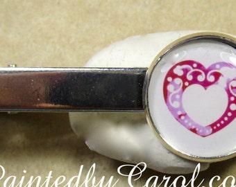 Heart Tie Bar, Heart Tie Tack, Heart Tie Clip, Heart Lapel Pin, Heart Jewelry, Heart Mens Gifts, Groomsmen Gifts, Wedding Jewelry