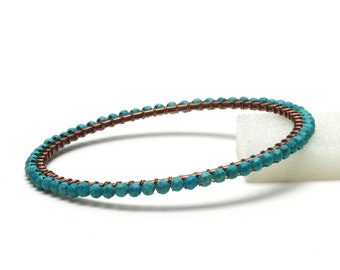 Turquoise and Copper Bangle Bracelet - Handmade Turquoise Jewelry - December Birthstone Jewelry
