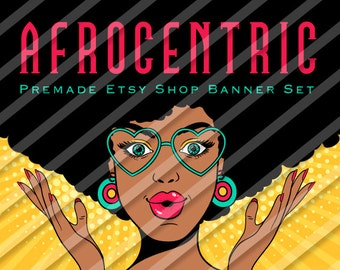"""Etsy Shop Banner Set - Graphic Banners - Branding Set - """"Afrocentric 1"""""""
