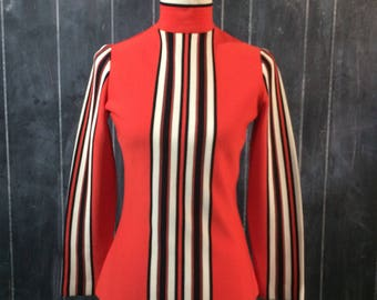 Vintage red orange top with stripes