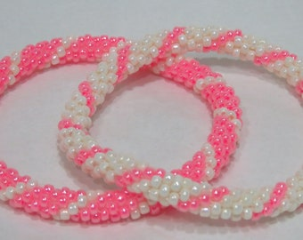 Set of Two Pink and White Bead Crochet Roll On Bangle Bracelets