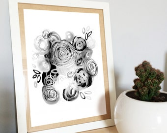 A4 flower print, black and white, illustration, botanical drawing