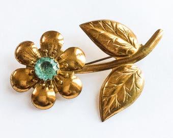 Art Deco, Aquamarine Glass Brooch, Gold Tone Flower 1940s Vintage Jewelry SALE