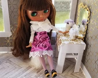 Pink Gothic Lolita Skirt Pink Rose White Blouse for Neo Blythe, Azone Dolls, EGL Set for Neo Blythe, Pullip