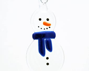 Glassworks Northwest - Clear Snowman with a Blue Scarf - Fused Glass Ornament