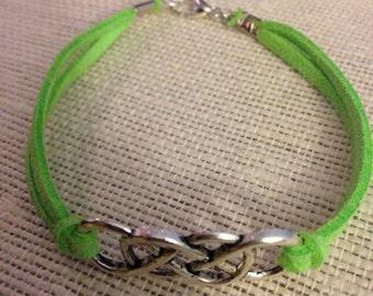 Silver&Lime Double Infinity Bracelet