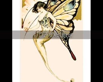 Instant Digital Download, Vintage Edwardian Graphic, Art Nouveau Fairy with Butterfly Wings, Antique Fantasy Print, Printable Image