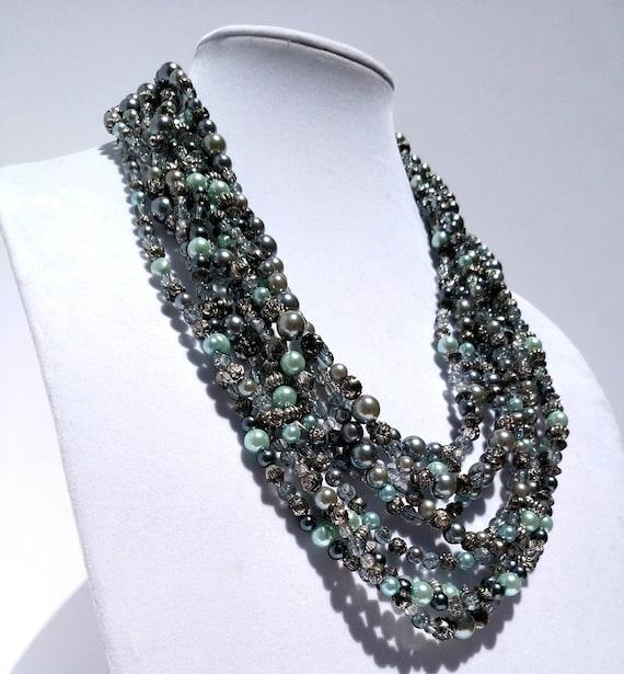 Pearl Cascade Multi-Strand Necklace