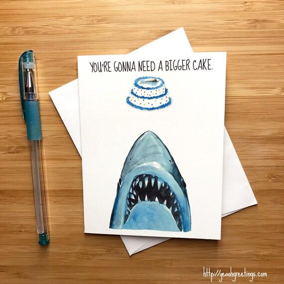 Shark birthday card great white shark pop culture card 80s bookmarktalkfo Gallery