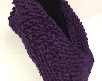 Hand knit cowl scarf