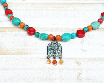 Turquoise Boho necklace, Turquoise coral necklace,  Multi colored necklace, Colorful necklace, Bohemian jewelry, turquoise gifts