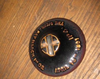 """WEIR PAT. MARCH 1, 1902 Canning Jar Lid Pottery Lid 4 1/4"""" Inside 3"""" Brown No. 4"""