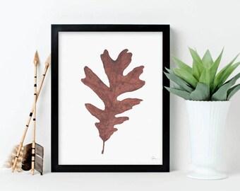 Autumn White Oak Leaf, botanical print, leaf illustration, watercolor painting, art print, home decor, Thanksgiving