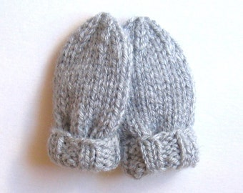 Warm Winter Infant Mittens, Light Gray Hand Knit Baby Mittens, Handmade Gift, 0 to 3 Months, Gender Neutral  Girl or Boy, No Thumb Mittens