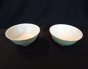 Pair of Chinese Antique 19th Century Small Porcelain Pea Green Bowls