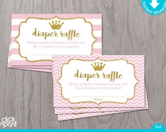 Diaper Raffle Ticket Pink and Gold Glitter Print Yourself Princess Baby Shower, Diaper Raffle Card, Baby Shower Games