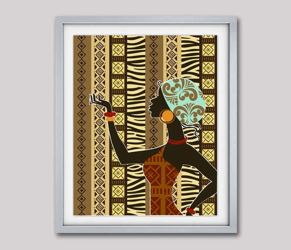 "African  Artwork, African Woman, African Painting, African Wall Decor, South African Art, African Wax Fabric  -  8"" X 10"""