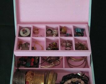 "WOODEN JEWELRY BOX  ""Shabby Chic"" soft blue and pink, jewelry box vintage, jewelry storage"