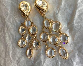 Genuine Swarovski Crystal Chandelier Clip-on Earrings