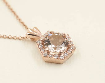 Morganite Diamond Necklace.0.16 ct High Quality Diamond & 7mm AAA Natural Morganite.Hexagon Pendant.14k Rose Gold Necklace.Simple Necklace
