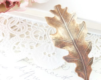 Ox Brass Leaf Hair Barrette - Oak Leaf - Woodland Collection - Whimsical - Nature - Bridal