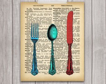 Fork Knife Spoon Art  - 8x10 Printable Kitchen Art, Kitchen Decor, Dictionary Art Print, Cutlery Art, Dictionary Print