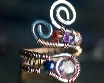 """Pink Rose Quartz Rose Gold Argentium Silver Wire Wrapped Ring - Flamingo Pink, Blue Sapphire, Amethyst, Spinel, January - """"First Light"""""""