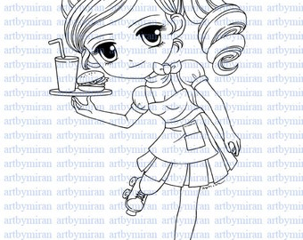 Digital Stamp-ROLLING BY(#43), Digi Stamp, Coloring page, Printable Line art for Card and Craft Supply, Art by Mi Ran Jung