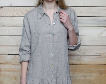 Linen Oversize Longsleeve Dress / Linen Tunic/ Linen Dress Midi/ Natural Linen Dress