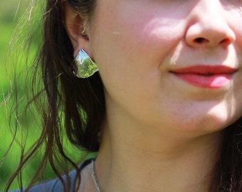 Sterling Silver Ginkgo Leaf Earrings - Ginkgo Jewelry - Ginkgo Leaf Jewelry - Ginkgo Earrings - Large Earrings - Sherry Tinsman