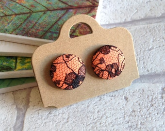 Fabric button | Medium Button earrings | Stud earrings | pierced ears | Unique gift ideas | Made in the UK | UK shop