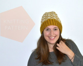 Instant Download Knitting Pattern  Womens Hat Pattern Fair Isle Hat Pattern Hat Pattern  Knit Pompom Hat Pattern Womens Accessories