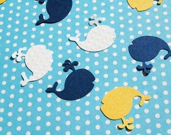 whale table confetti baby shower decor die cut whales navy yellow white 150 pieces