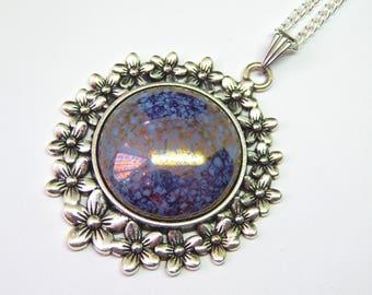 Pale Blue Gold Czech Glass Cabochon Pendant - Light Blue Bronze Marbled Glass Necklace - Blue Gold Cabochon Pendant - Floral Silver Necklace
